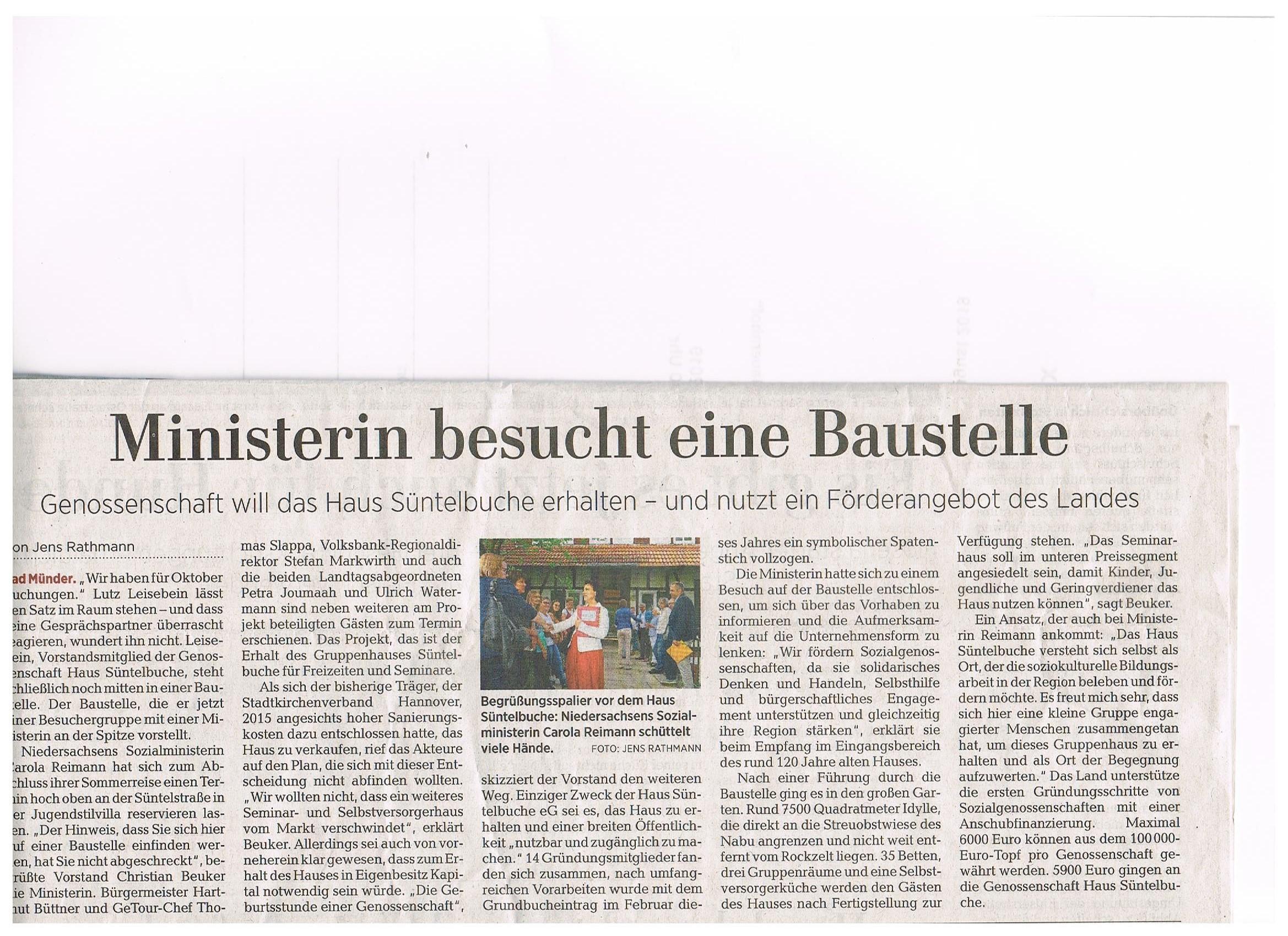 Ministerin Carola Reimann besucht Haus Süntelbuche